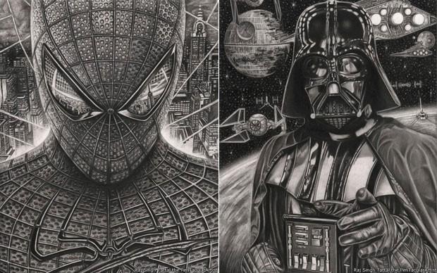 Desenhos dos personagens Homem-Aranha e Darth Vader (Foto: Raj Singh Tattal/The PenTacular Artist)