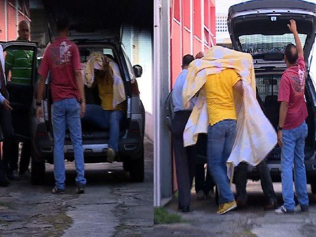 Sukita chega ao Instituto Médico Legal  (Foto: Reprodução TV Sergipe)