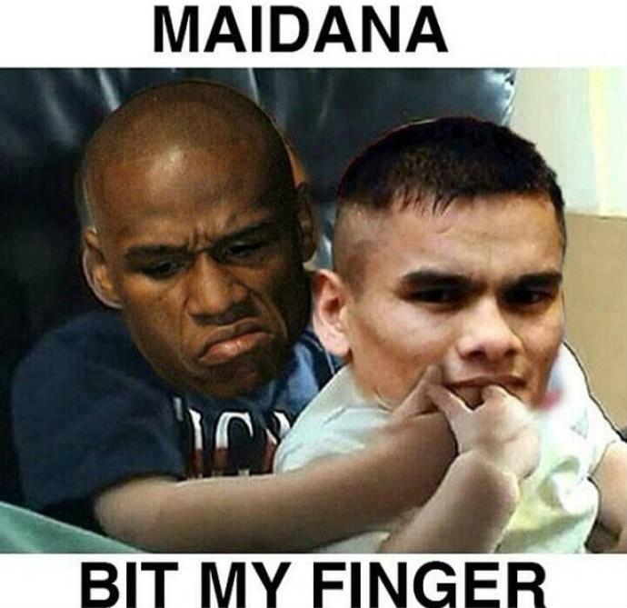 """""""Maidana mordeu meu dedo"""", em alusão ao meme """"Charlie bit my finger"""" (Foto: Reprodução)"""
