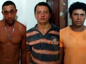 Cícero de Oliveira, Franciel marcos Santos de Alcântara e Jorge Gomes da Silva foram presos, suspeitos de cometer o crime (Foto: Divulgação/ Ascom PC)