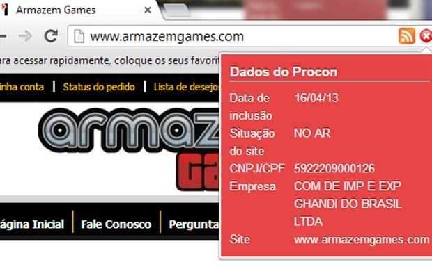 """Imagem do app """"Lista Segura"""" que mostra sites de compra na web que não são recomendados pelo Procon-SP (Foto: Reprodução)"""