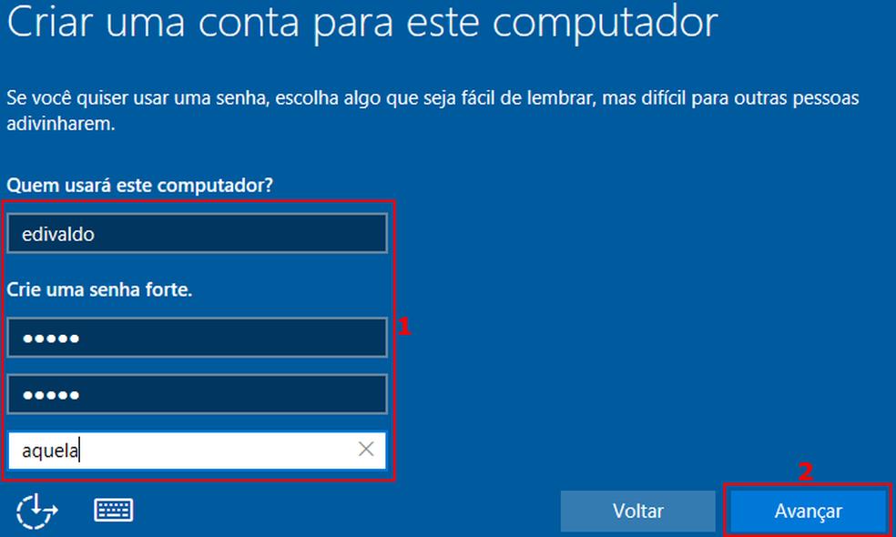 Criando um usuário e senha locais para acessar o Windows (Foto: Edivaldo Brito/TechTudo)
