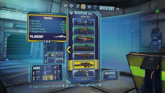 Equipe e compare os armamentos no menu (Foto: Reprodução/Murilo Molina)