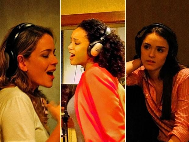 As intérpretes das Empreguetes soltam a voz em estúdio (Foto: Cheias de Charme / TV Globo)