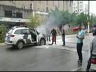 Carro da Polícia Militar pega fogo em Castelo, no Sul do ES