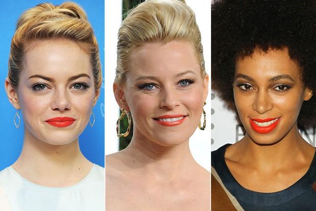 Batom Laranja - Emma Stone, Elizabeth Banks e Solange Knowles (Foto: Getty Images)