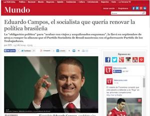 Site chileno 'La tercera' aponta que Campos buscava renovar a política. (Foto: Reprodução)
