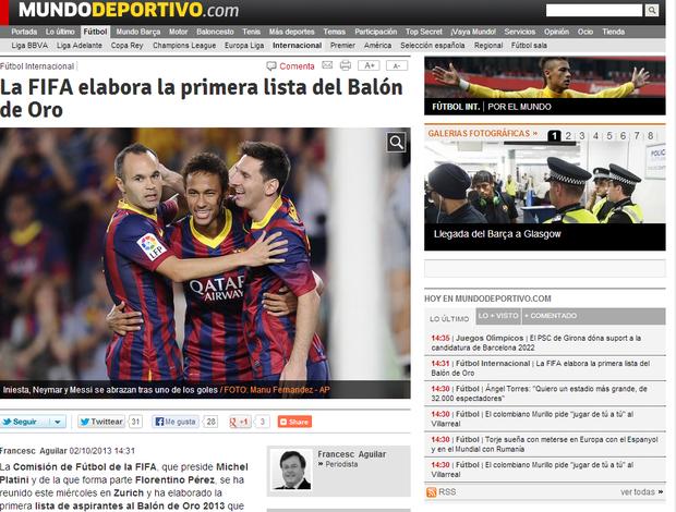 Jornal divulga lista da Fifa com Neymar e Daniel Alves (Foto: Reprodução / Mundo Deportivo)