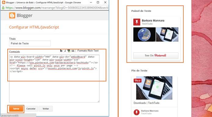 Cole o código e salve no site para conferir o resultado (Foto: Reprodução/Barbara Mannara)