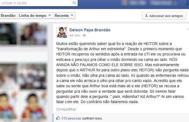 Pai diz que siâmes sobrevivente ainda não perguntou de irmão após morte em GoIânia, Goiás (Foto: Reprodução/Facebook)