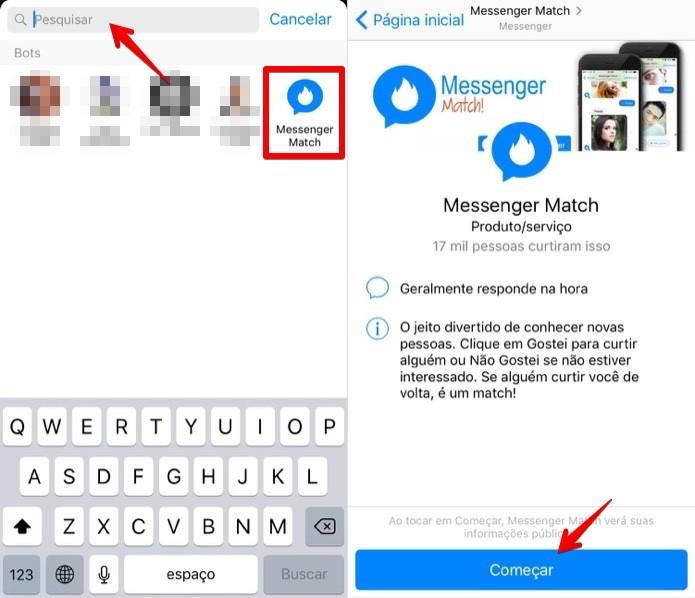 Acessando o Messenger Match (Foto: Reprodução/Helito Bijora)