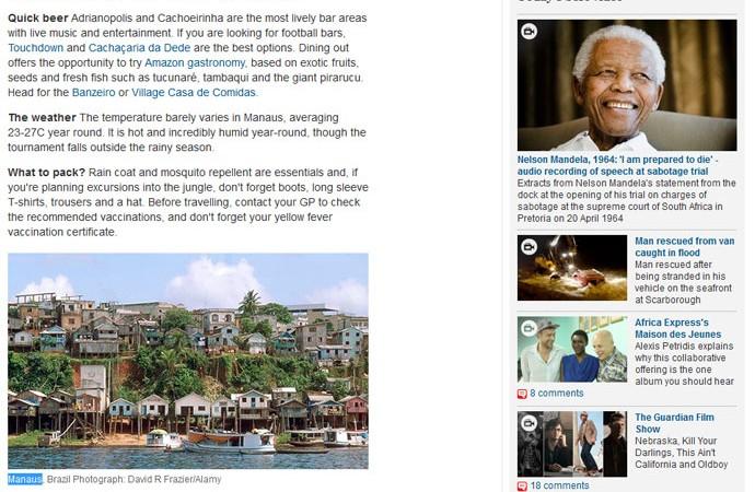 The Guardian guia sobre Manaus Copa 2014 favela (Foto: Reprodução)