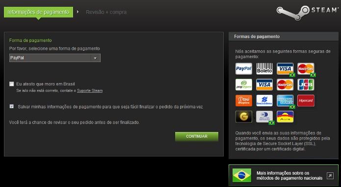 Clique no ícone do Paypal no canto direito da tela e depois em CONTINUAR (Foto: Reprodução / Dario Coutinho)