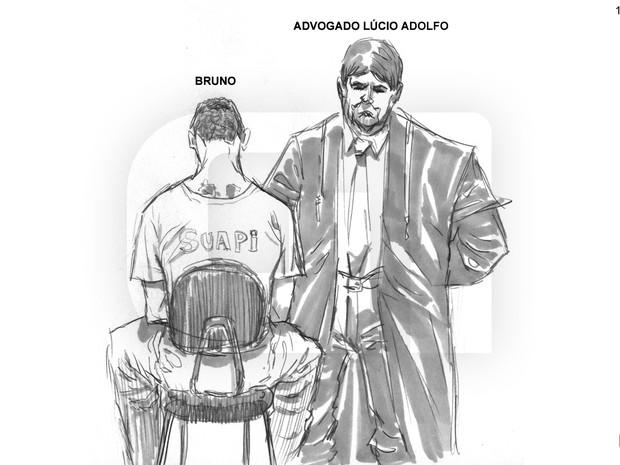 07/03/2013 - Lúcio Adolfo, advogado de Bruno, conversa com seu cliente (Foto: Léo Aragão/G1)