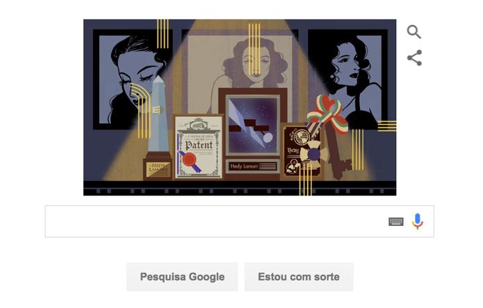 Hedy Lammar em Doodle do Google sobre sua vida no cinema e na tecnologia (Foto: Reprodução/Google)