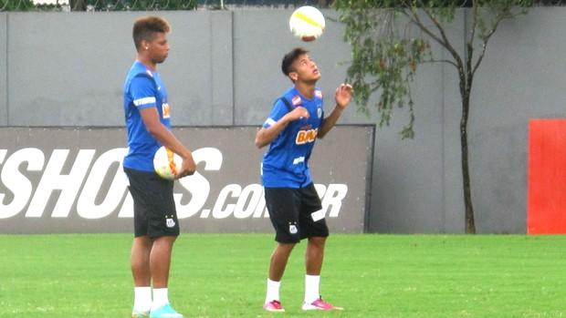 Neymar e André, treino do Santos (Foto: Marcelo Hazan / Globoesporte.com)