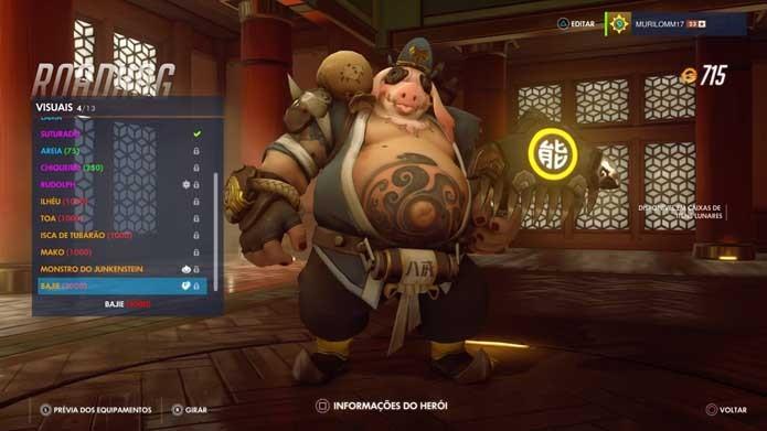 Roadhog ganhou cabeça de porco em Overwatch (Foto: Reprodução/Murilo Molina)