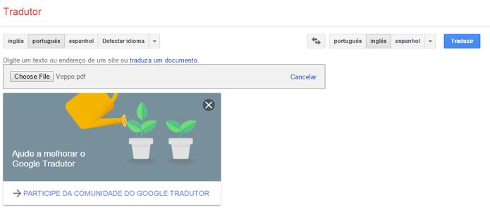 Site do Google permite carregar e traduzir arquivos em PDF (Foto: Reprodução/Google)
