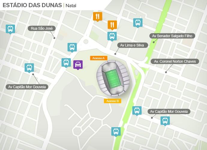 Mapa de acesso às ruas da Arena das Dunas (Foto: Google Maps / Infografia GloboEsporte.com)