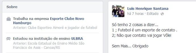 Facebook do zagueiro Luis Henrique (Foto: Reprodução/Facebook)