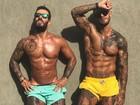 Lucas Lucco mostra corpo trincado e tatuado após malhação com amigo