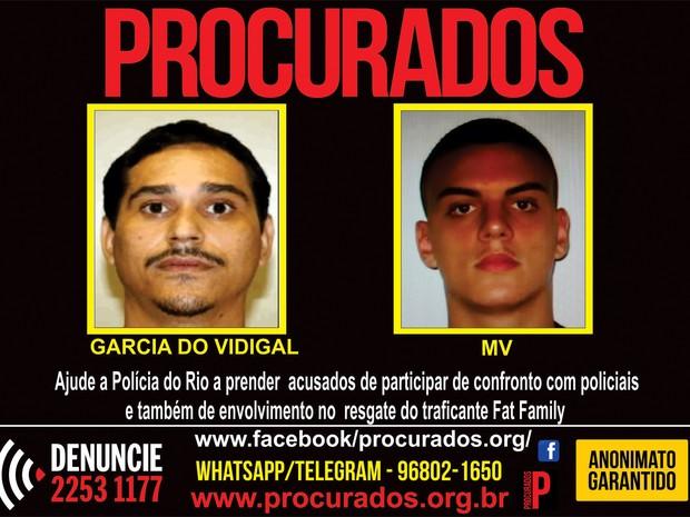 Portal dos Procurados divulga fotos de dois envolvidos no resgate ao traficante Fat Family em hospital do Rio (Foto: Portal dos Procurados/Divulgação)