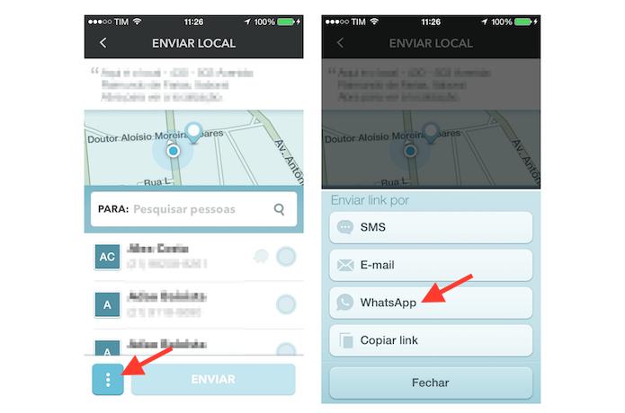 Utilizando o compartilhamento da localização atual do Waze com o WhatsApp (Foto: Reprodução/Marvin Costa)