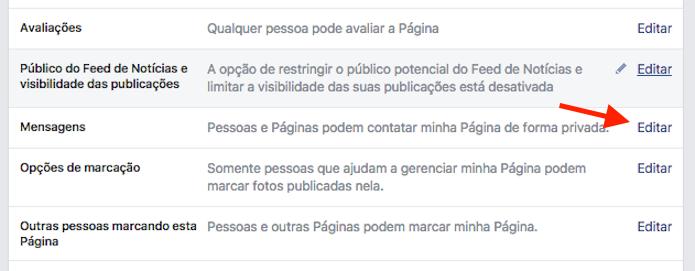 Caminho para acessar a configuração que desativa o bate papo para páginas do Facebook (Foto: Reprodução/Marvin Costa)
