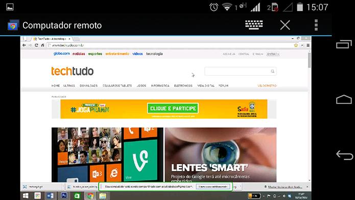 Em segundos, o desktop aparece na tela do Android (Foto: Reprodução/Paulo Alves)