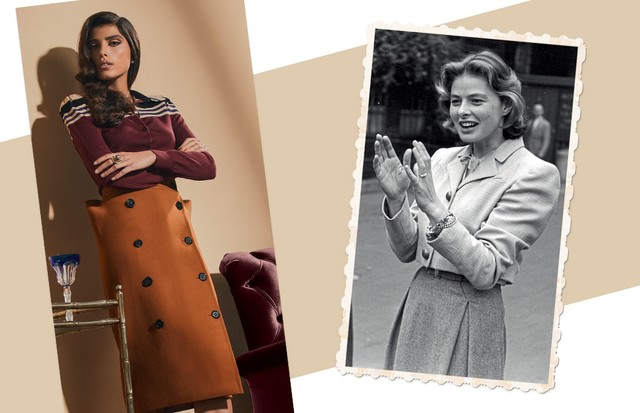Suada Rrahmani usa suéter (R$ 4.130) e saia (R$ 5.830), ambos Bottega Veneta, brincos (R$ 8.200) e anel (R$ 28.600), ambos Ara Vartanian (Foto: Ivan Erick, Kurt Hutton e Keystone/Getty Images e MGM/Kobal/Rex/Shutterstock)