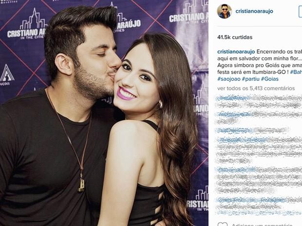 Cristiano Araújo publica foto no Instagram com a namorada Allana (Foto: Reprodução/Instagram)