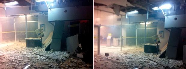 Agência do Bando do Brasil de Campo Grande ficou completamente destruída com a explosão (Foto: Leonardo Arruda/G1)