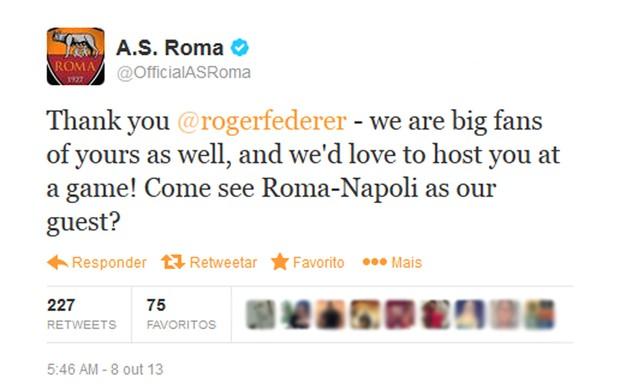 twitter Roma Roger Federer (Foto: Reprodução / Twitter)