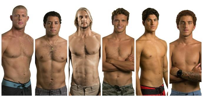 Mick Fanning, Adriano de Souza, Owen Wright, Julian Wilson, Gabriel Medina e Filipe Toledo estão na briga pelo título do Circuito Mundial de Surfe (Foto: Montagem sobre fotos da Getty Images)