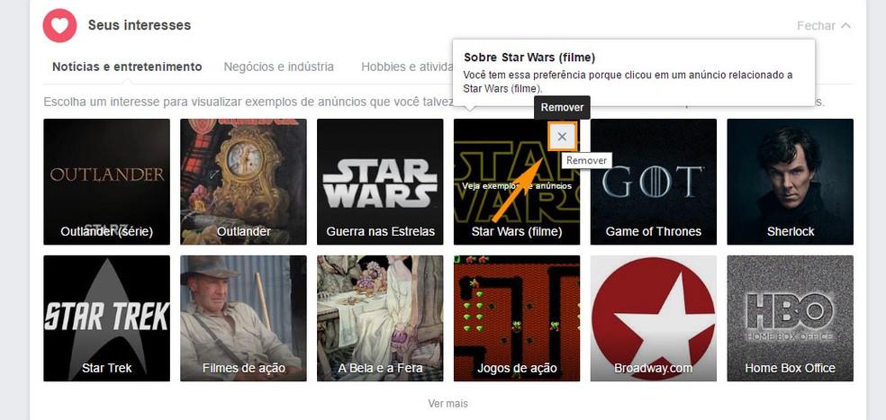 Remova um dos itens da sua lista de interesses de anúncios do Facebook (Foto: Foto: Reprodução/Barbara Mannara)