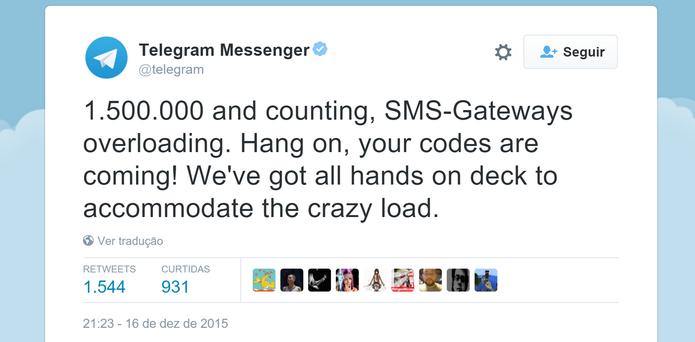 Telegram Messenger publicou no Twitter que enfrenta problemas técnicos após bloqueio do WhatsApp (Foto: Reprodução/Elson de Souza)
