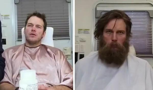 O ator Chris Pratt antes e depois da aplicação de sua maquiagem (Foto: Instagram)