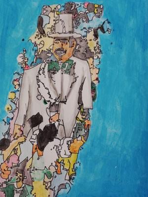 Homem de Meia Noite, tradicional boneco gigante de Olinda, é retratado por Jackson Santana (Foto: Divulgação)