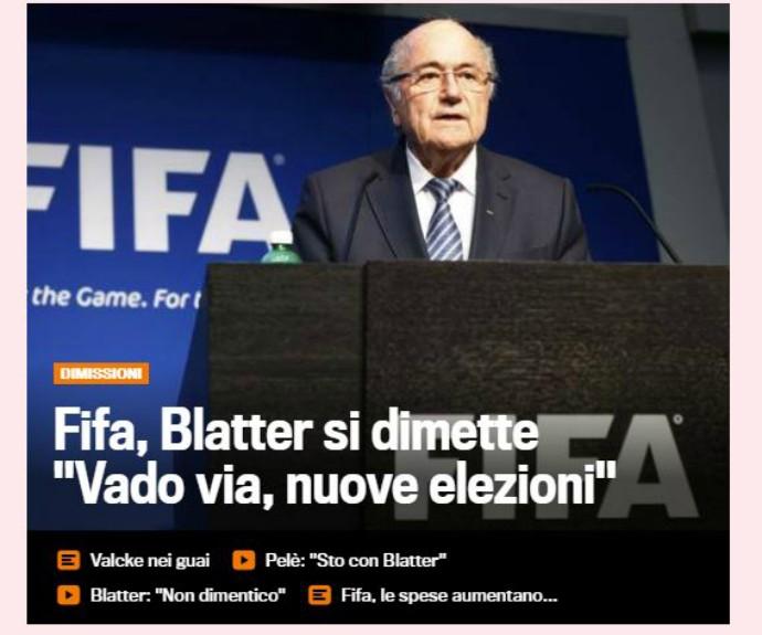 saída blatter fifa la gazzetta dello sport (Foto: Reprodução)