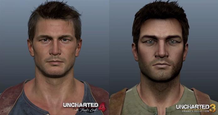 Naughty Dog divulgou uma imagem comparando o visual de Nathan Drake em Uncharted 4 e Uncharted 3 (Foto: Reprodução/YouTube)