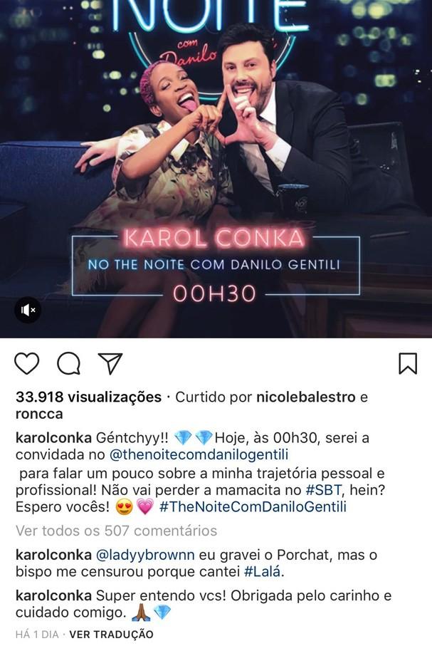 Comentário de Karol no Instagram (Foto: Reprodução)
