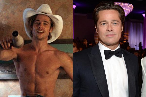 Brad Pitt em 1991 e atualmente (Foto: Divulgação)