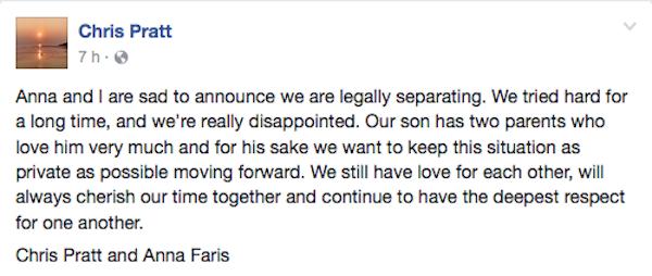 O anúncio do término do casamento de Chris Pratt e Anna Faris, feita pelo ator Facebook (Foto: Facebook)