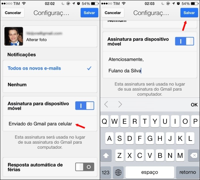 Editando assinatura do Gmail para iPhone (Foto: Reprodução/Helito Bijora)