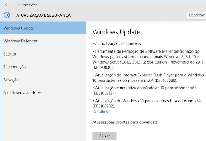 Verifique por atualizações no Windows Update (Foto: Reprodução/Helito Bijora)