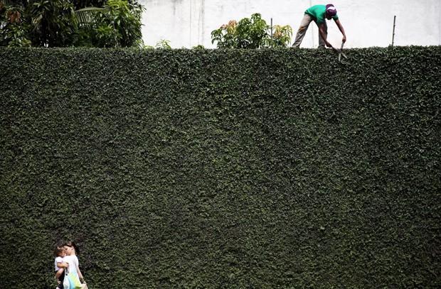 [PRA MATERIA]  Um homem corta grama do muro de um edifício coberto com plantas enquanto uma mulher caminha com um bebê em São Paulo (Foto: Nacho Doce/Reuters)
