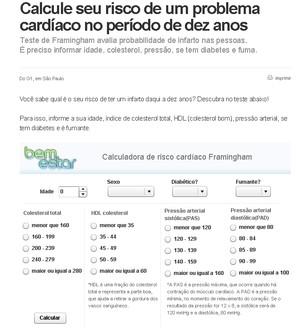 Calcule seu risco de um problema cardíaco no período de dez anos