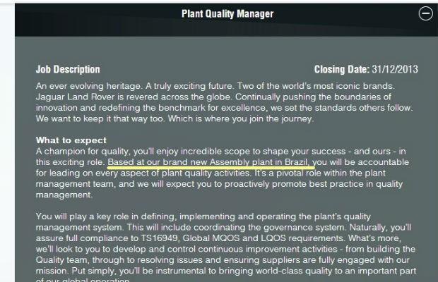 Land Rover anuncia vaga de emprego para fábrica no Brasil  (Foto: Reprodução)