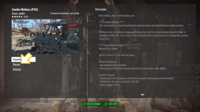 Selecione baixar para instalar o mod em sua versão de Fallout 4 (Foto: Reprodução/Rafael Monteiro)