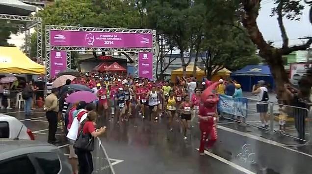1ª Corrida da Mulher Amazônica foi realizada nesta quarta-feira, em Manaus (Foto: Amazonas TV)
